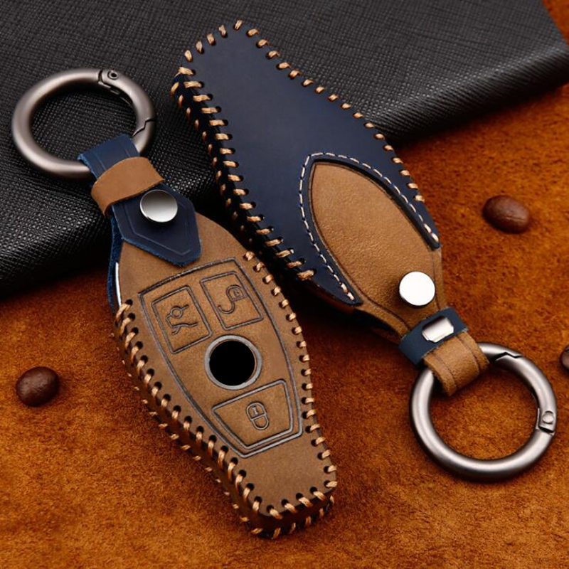 Genuine Leather 2 amp 3 Button Smart Car Key Case Cover For Mercedes Benz Accessories W203 W210 W211 W124 Keyrings Keychain