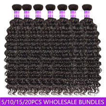 Deep Wave Human Hair Weaves Wholesale Bundles Price 3 6 10Lots Double Weft Human Hair Bundles 10A virgin Hair Extension Shuangya