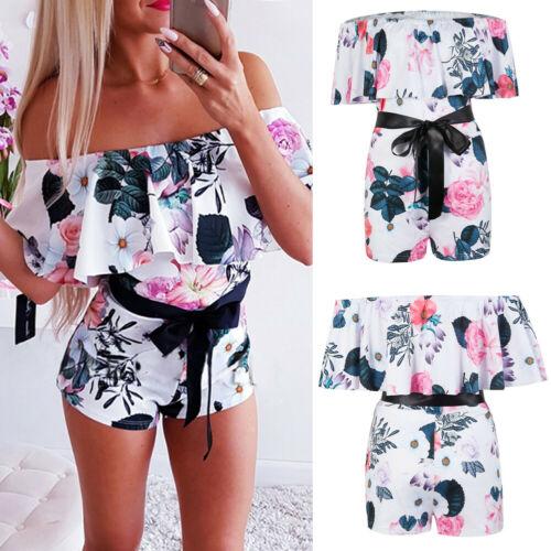 Women Girl Playsuit Summer Casual Beach Short Mini Lace Jumpsuit Romper UK 6-14