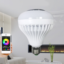 LED RGB Color Bulb Light E27 110V-240V Remote Control Bluetooth Smart Music Bulbs Audio Speaker Lamps RGB + 6000K