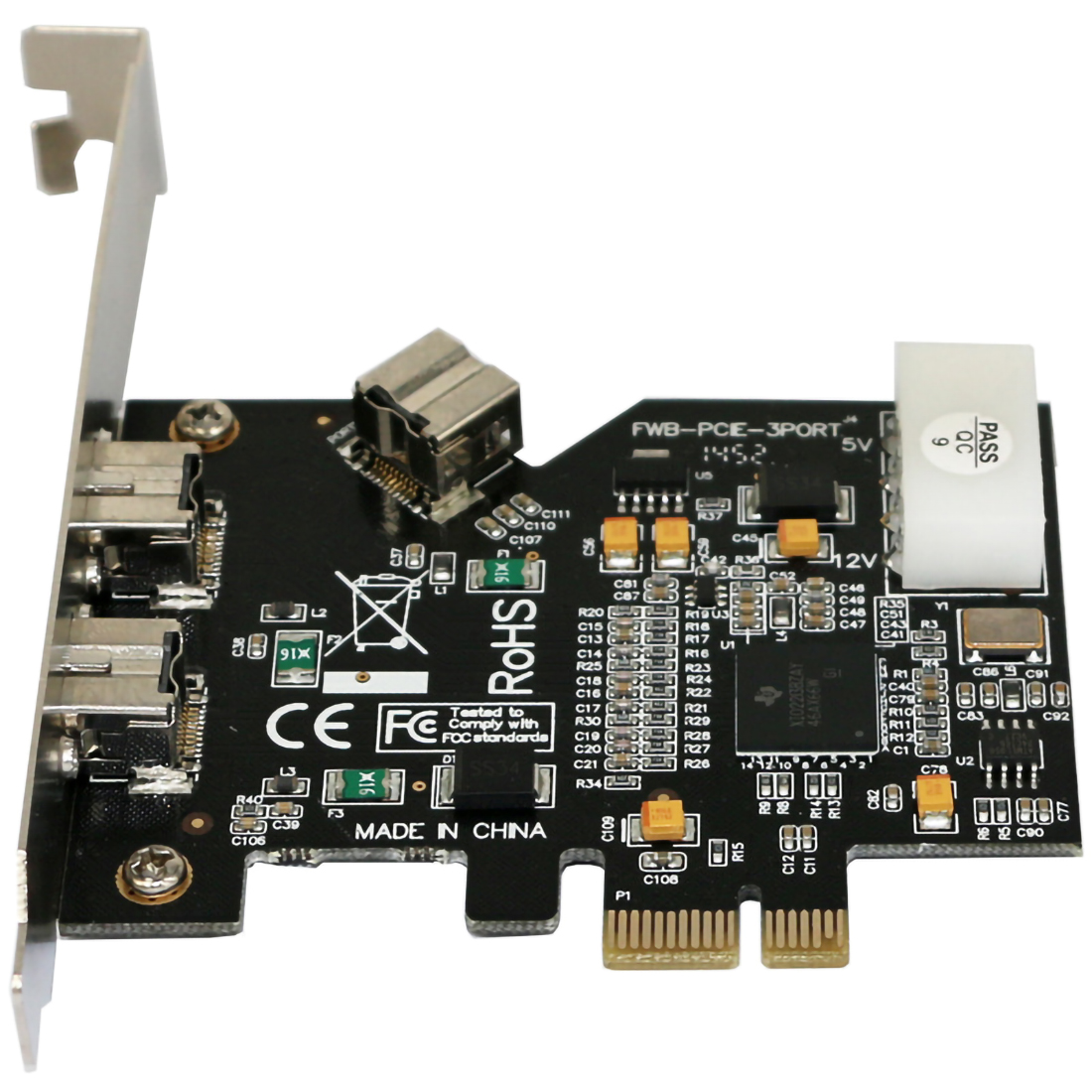 PCI Express PCI-E X1 To 3 Ports 1394B Controller Card Add On Card For FireWire 800 IEEE 1394 B 2+1 Digital Camera Video Capture