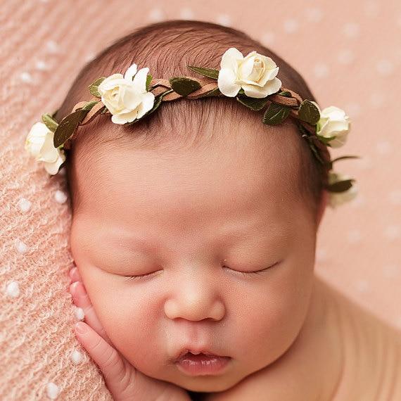Yundfly Fashion Toddler Baby Girls Flower Wreath Garland Elastic Kids Floral Hairband
