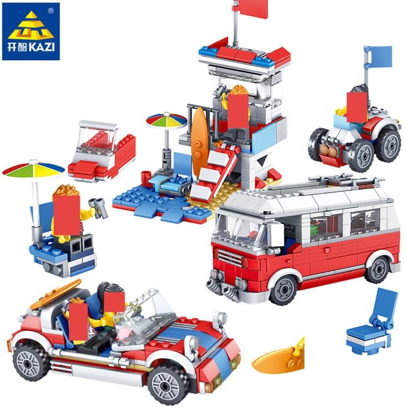 374Pcs Cidade Acampamento RV Viagem Passeio de Carro LegoINGLs Bricks DIY Blocos de Construção Sets Playmobil Brinquedos para As Crianças Presentes de Natal