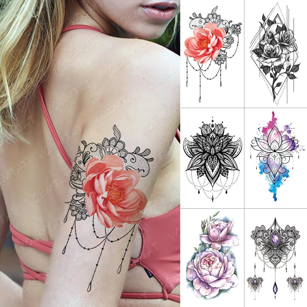 Waterproof Temporary Tattoo Sticker Mandala Rose Lotus Flash Tattoos Peony Flower Body Art Arm Water Transfer Fake Tatoo Women