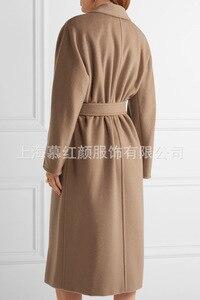 Image 3 - ダブルブレストウールコート固体スリムウールブレンドコートとジャケット女性コート秋冬
