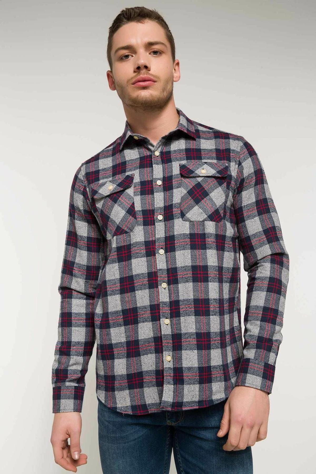DeFacto Men Spring Top Shirts Men Casual Plaids Shirts Male Turn-down Collar Long Sleeve Shirt-I9590AZ18SP