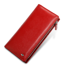 Long Purse Genuine Leather Wallet Female Fashion Zipper Women Wallets Card Holder Clutch Ladies