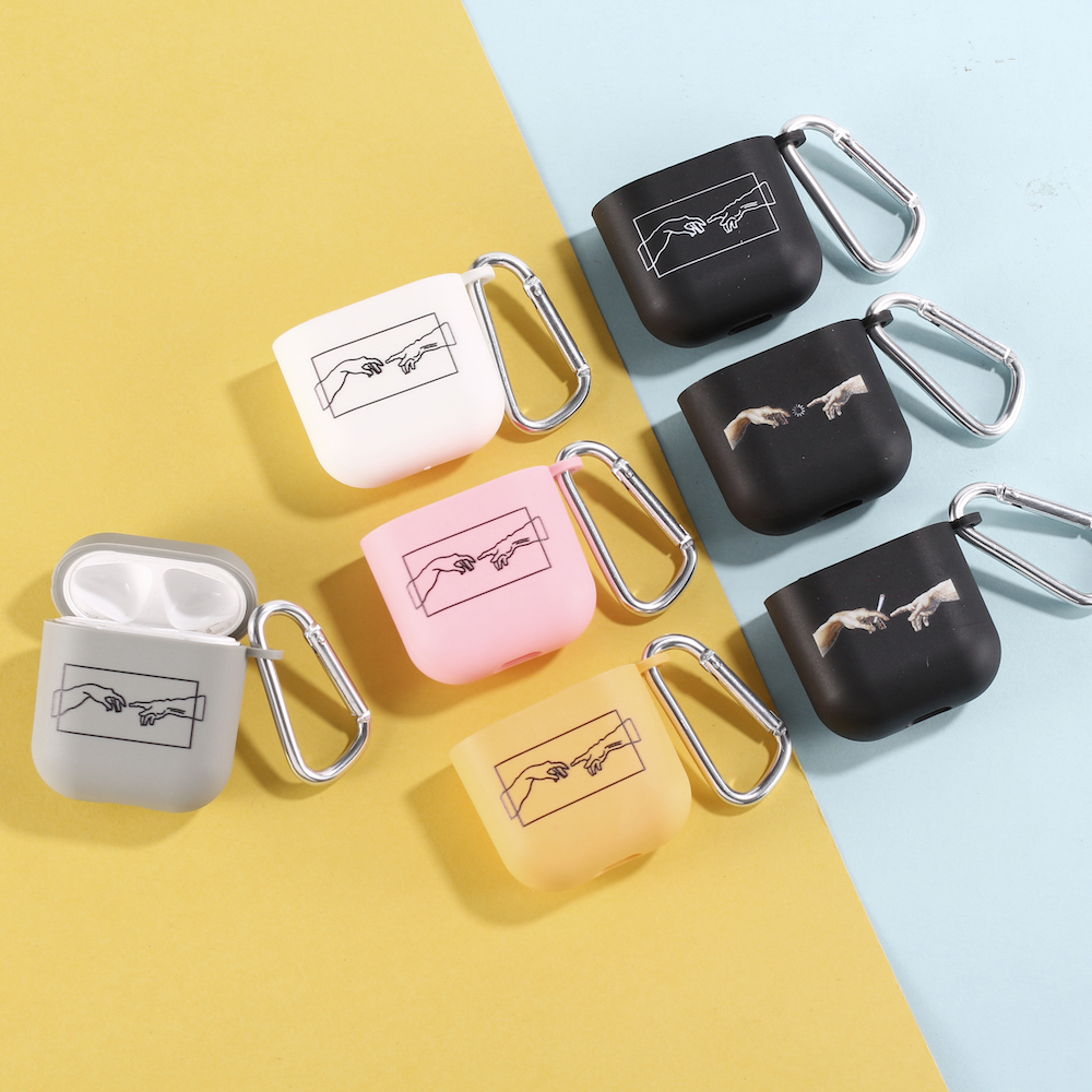 David Hand Art lines Earphone Case For Apple iPhone Charging Box For AirPods Pro Soft Candy Color Carabiner Cover Accessories