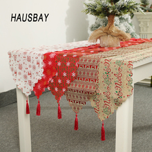 Linen Christmas Table Runner Decoration Printed Flag Tablecloth Placemat Cover Home Decor for Xmas TC012