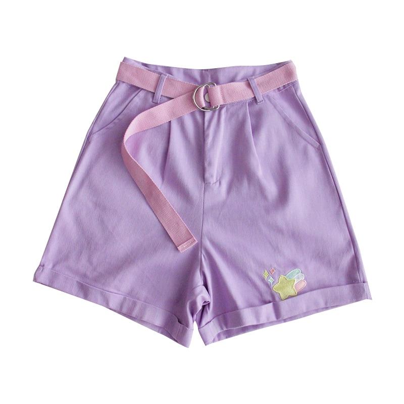 Korean Teen Girl Kawaii Wide Leg Shorts Harajuku Cartoon Denim Shorts Women High Waist Cute Casual Belt Purple Jeans Short Femme