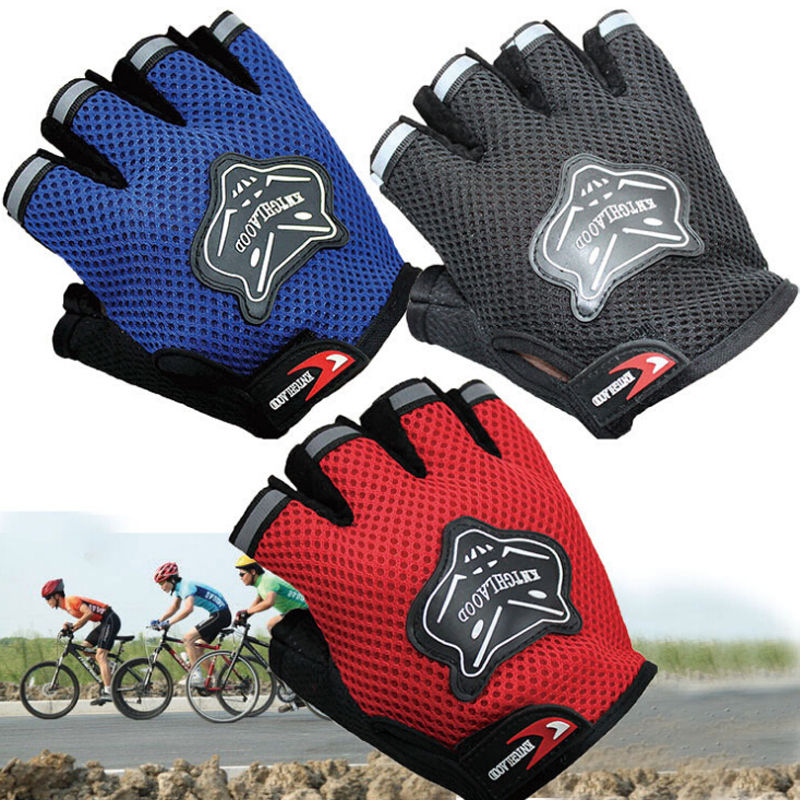New Fashion Climbing Outdoor Sport Bicycle Cycling Bike Half Finger Mesh Gloves For 7-16Y Kids Adults Men Women Warm