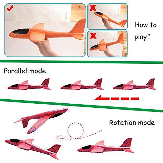 Jouet d'avion en mousse pour enfants, modèle d'avion à inertie, Mode de vol 36/48cm, pour sports de plein air 5