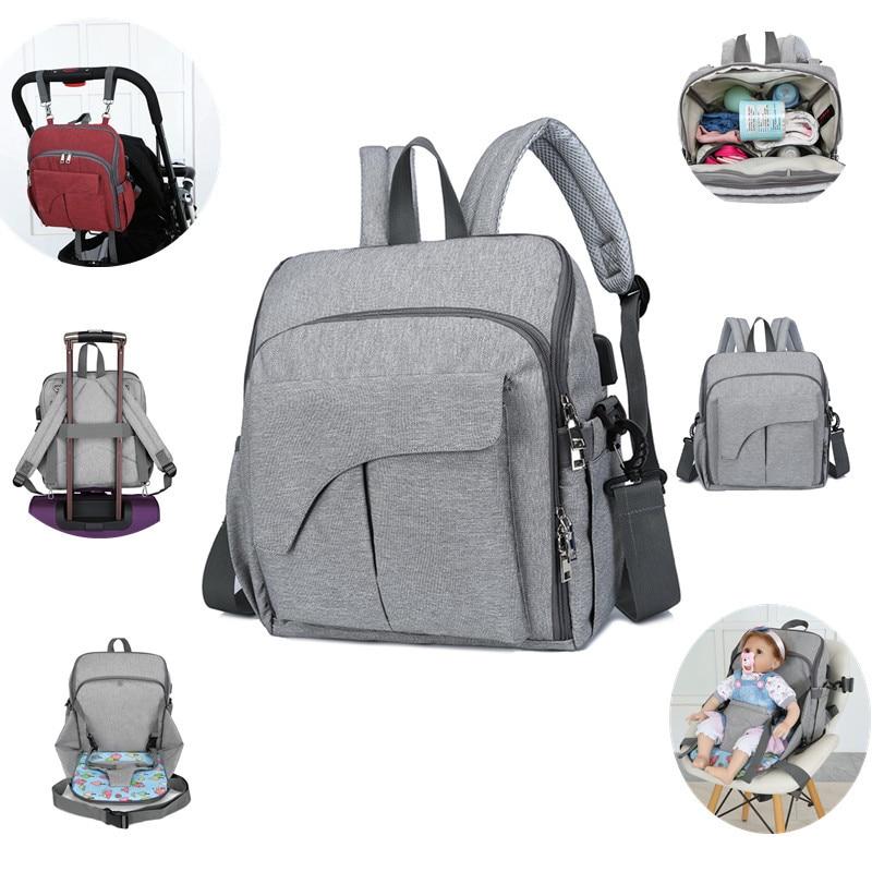 New USB Waterproof Diaper Bag For Mom Maternity Nappy Backpack Shoulder Baby Stroller Organizer Seat Nursing Changing Bag Care