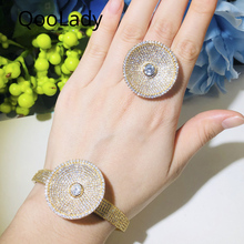 QooLady Luxury African 585 Gold Micro Pave Full White Zirconia Big Round Ring Bangle Wedding Party Jewelry Sets for Women S068