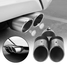 Car Stainless Steel Curved Double Outlet Car Exhaust Muffler Chrome Tail Pipe Car Decoration Trim Universal Car Styling