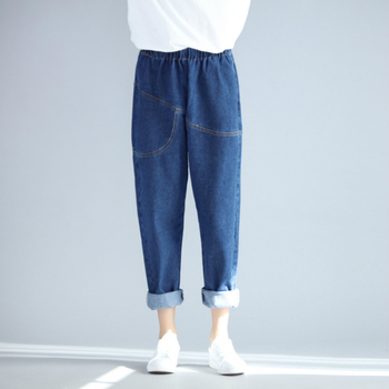 Boyfriend Jeans For Women Haren Pants 2020 Spring Summer Elastic Mid Waist Loose Casual Jeans Female Pocket Denim Trousers jeans rushed promotion cotton sashes plaid capris loose low 2014 spring and summer taste the random of color waist denim female