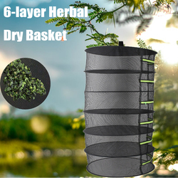 6 camadas cesta de suspensão com zíper dobrável rack seco erva destacável secagem líquida rack planta flor cesta seca de ervas