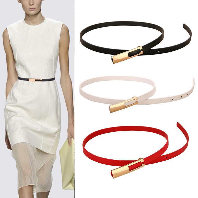 Metal Buckle Thin Belt Fashion Wild Women Leather Belt Black White Red Straps Waistband Female Dress Accessories