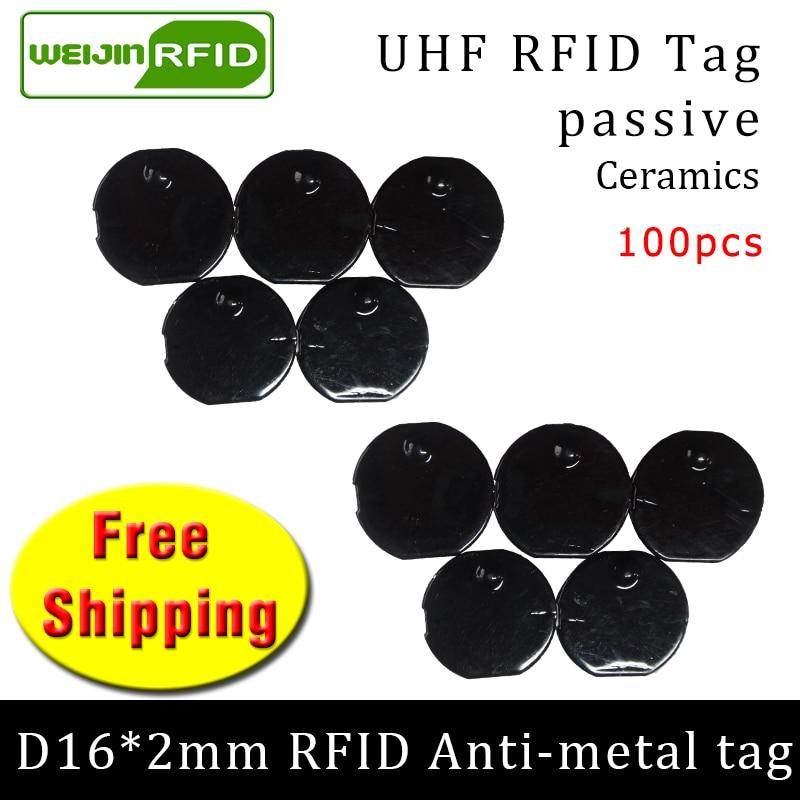 UHF RFID Metal Tag 915m 868m Alien H3 EPC ISO18000 6c 100pcs Free Shipping D16mm*2mm Small Circular Ceramics Passive RFID Tags