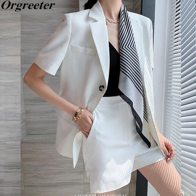 Fashion Two Pieces Sets Women Elegant Scarf Short Sleeve Notched Blazer Jacket+Pocket Mini Shorts  Suits OL Female Outfits 1