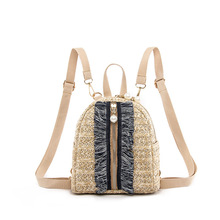 купить Fashion Women Straw Backpack Mini Backpack Travel Shoulder Bag Girls Ladies Rattan Rucksack School Small Backpack Shoulder Bag дешево