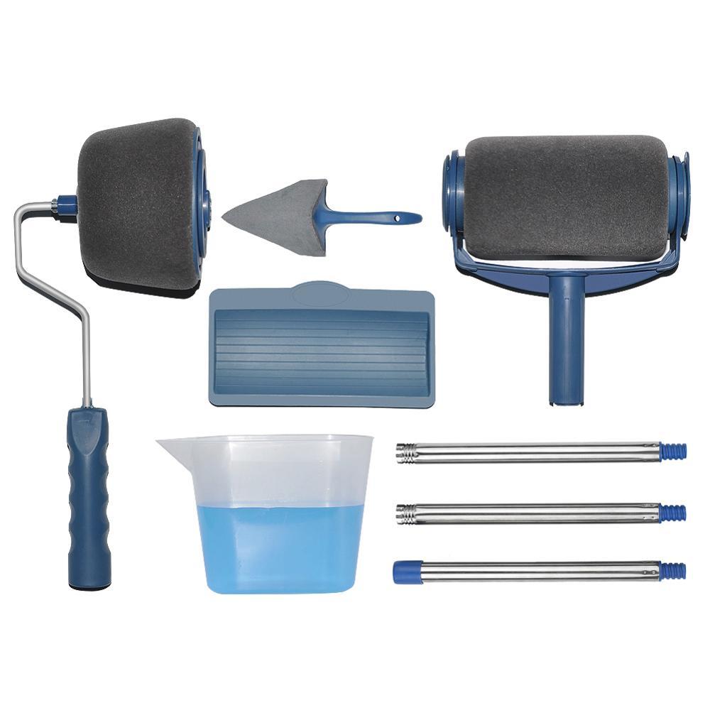 Paint Roller Kit 8 Pcs Multifunctional Paint Runner Set DIY Handle Paint Brush Tool Flocked Edger Corner Cutter Home Office Wall