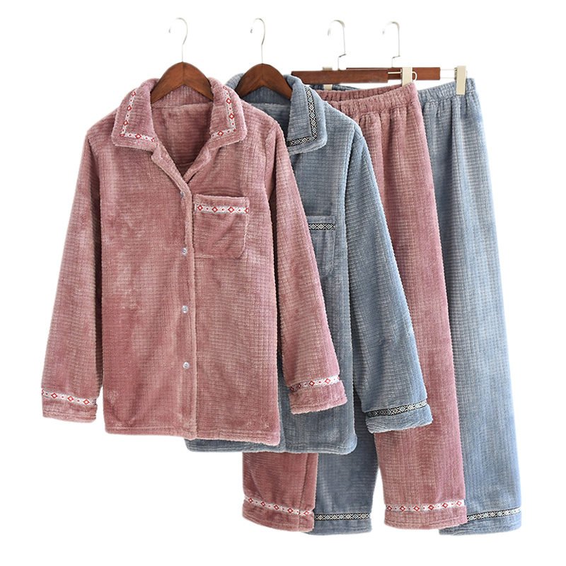New Thicken Winter Warm Flannel Couple Pajamas Sets Men And Women Fashion Plaid Pure Color Long Sleeve Sleepwear Lovers