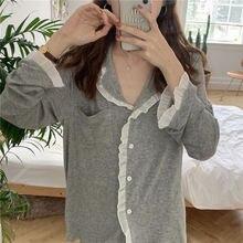 Женская пижама xifer из чистого хлопка осенняя стильная Пижама
