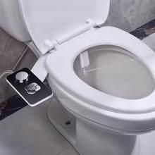 Assento do toalete do acessório do bidé ultra-fino não-elétrico auto-limpeza bicos duplos frontal & traseira lavagem de água fria higiene pessoal