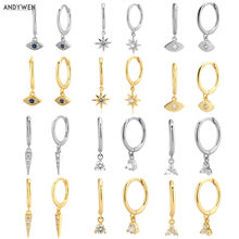 ANDYWEN – boucles d'oreilles multi-dangle en argent Sterling 925, Huggies minces en cristal avec breloques, boucles d'oreilles à Clips, bijoux pour femmes