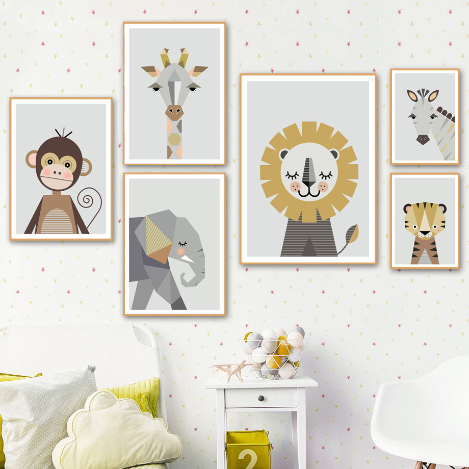 Canvas Painting Wall-Pictures Nordic Posters Lion Monkey Art Prints Animals Giraffe Elephant