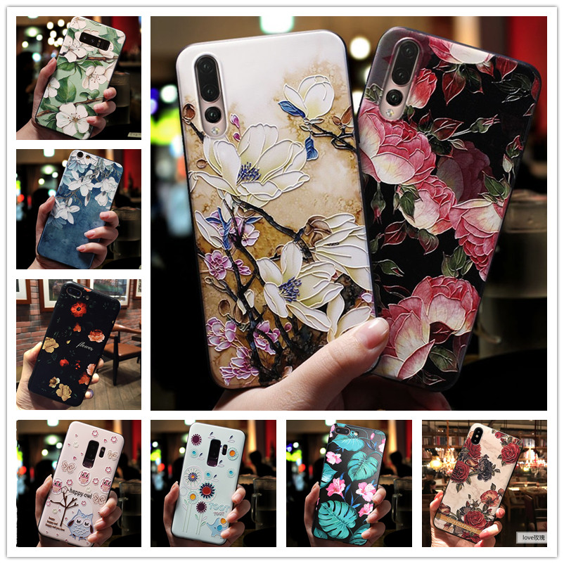 For <font><b>Vivo</b></font> Y17 <font><b>Case</b></font> 3D Flower Emboss Silicone Phone <font><b>Cases</b></font> For <font><b>Vivo</b></font> Y15 Y12 Z5X Y91i Y91C Y95 Y91 V11I Y97 <font><b>Y71</b></font> Cover Soft Z1 Pro image