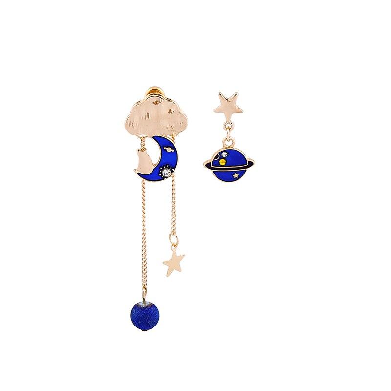 $1Blue Planet Drop Earrings Milky Way Gold Color Asymmetric Earrings For Women Fashion Jewelry Wholesale