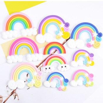 10 Uds Kawaii suave PVC goma arco iris de silicona Flatback Cabochon artesanía ajuste el teléfono decoración DIY lazos de pelo Centro Accesorios