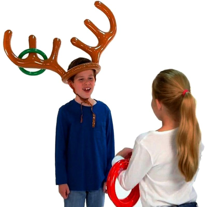 1 Pc Christmas Inflatable Reindeer Antler Ring Toss Game Xmas Party Fun Props