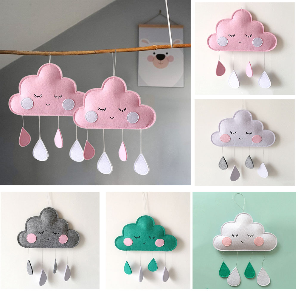 INS Baby Room Decor Clouds Raindrop Hanging Ornaments Babykamer Decoratie Crib Bed Bell Baby Room Decoration Wall Accessories