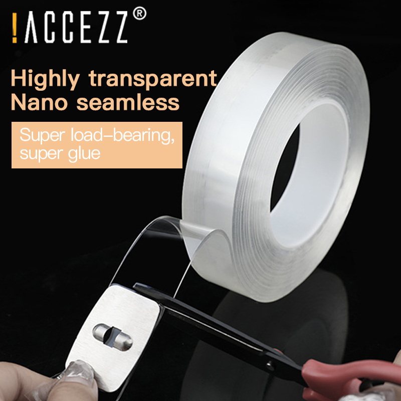 !ACCEZZ 5M Transparent Double Sided Adhesive Nano Magic Tape Removable Stickers Traceless Washable For Phone Car Desktop Sticker