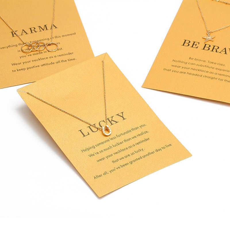Karta życzeń moda gwiazda Cricle podkowy naszyjnik dla kobiet złoty kolor zrobić życzenie Collier Bijoux biżuteria prezent EY1575