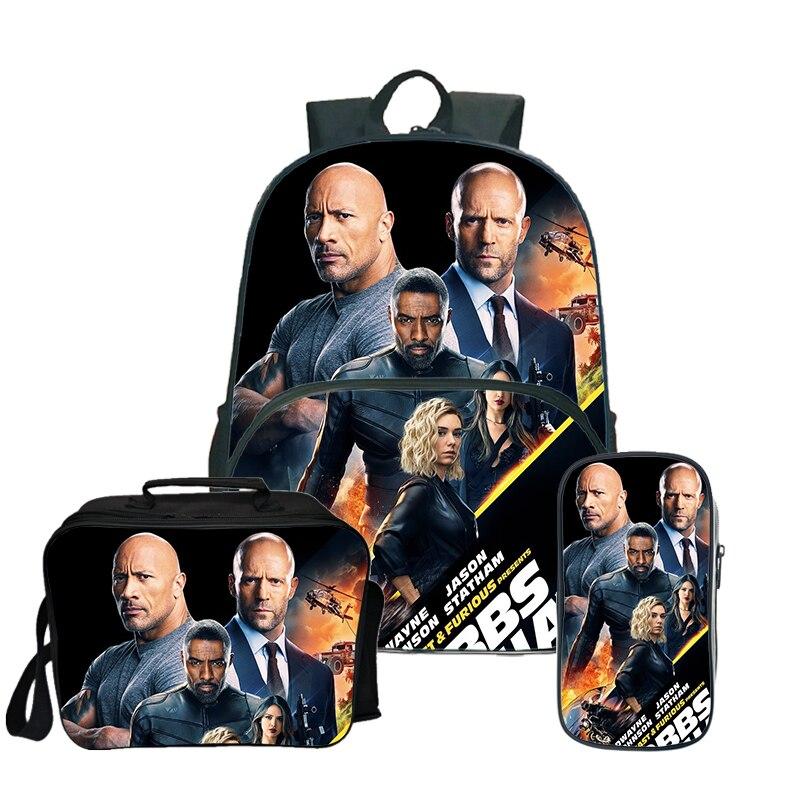 Hobbs Shaw sac à dos sac de voyage pour adolescentes filles garçons sacs à dos d'école avec trousse mignonne Kawaii sac à dos pour ordinateur portable 3 pièces/ensembles Mochila