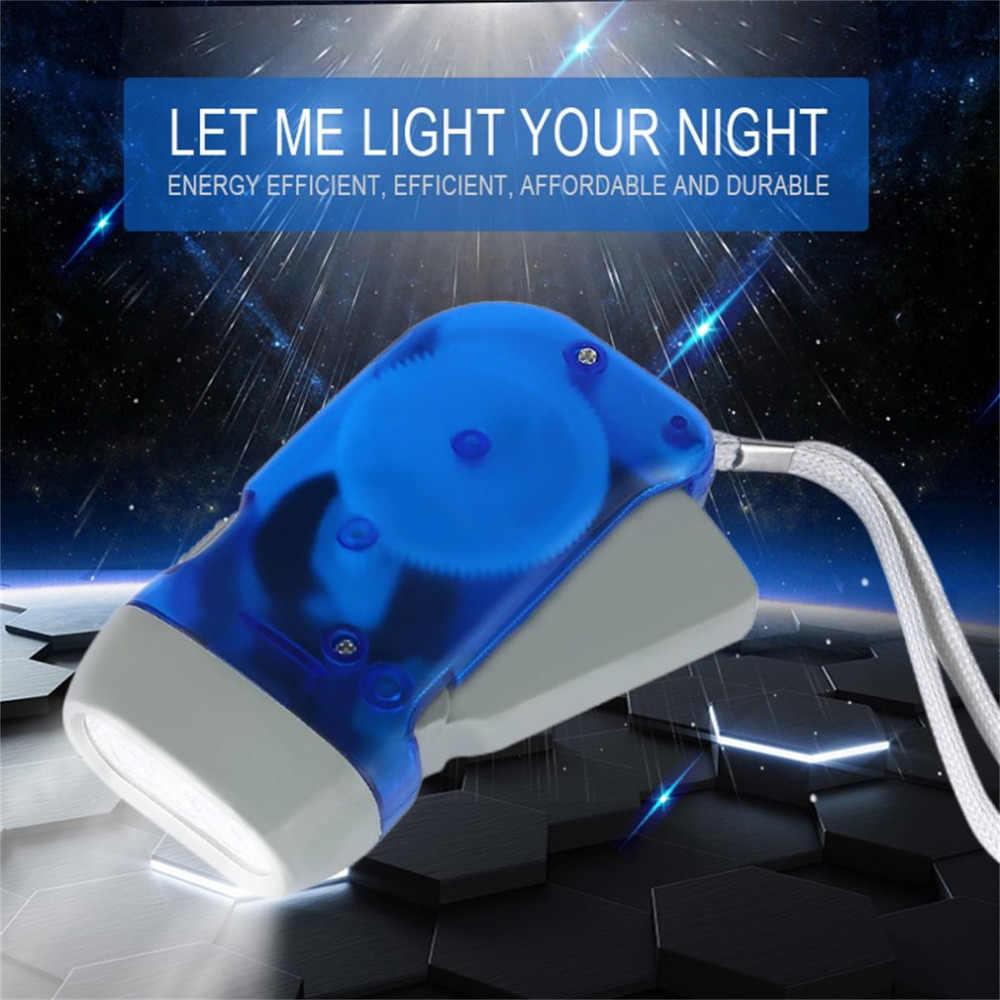 Icoco lanterna 3 led dínamo mão pressionando manivela energia vento acima da tocha luz manivela viajar lâmpada de acampamento luzes transporte da gota