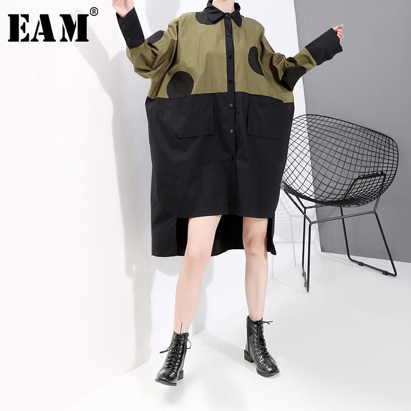 [EAM] Women Dot Print Spliced Hit Color Oversize Dress New Lapel Neck Long Sleeve Loose Fit Fashion Spring Autumn 2019 1B246