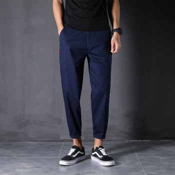 100% Cotton New Pants Man 28-48 Large Size Ankle-Length Harem Trousers Loose Comfortable Classic Causal Daily Clothes - 46, Navy Blue