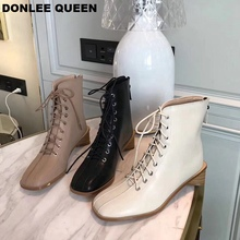 Brand Ankle Boots Women Lace Up Low Heel Autumn Winter Footwear Zipper 2019 New Casual Shoes zapatos de mujer