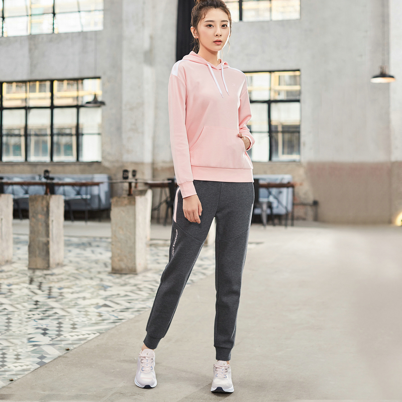 881328969223 Xtep women sport suit Two-piece 2019 Autumn Sports Women Sweater Casual Womens Hooded Trousers