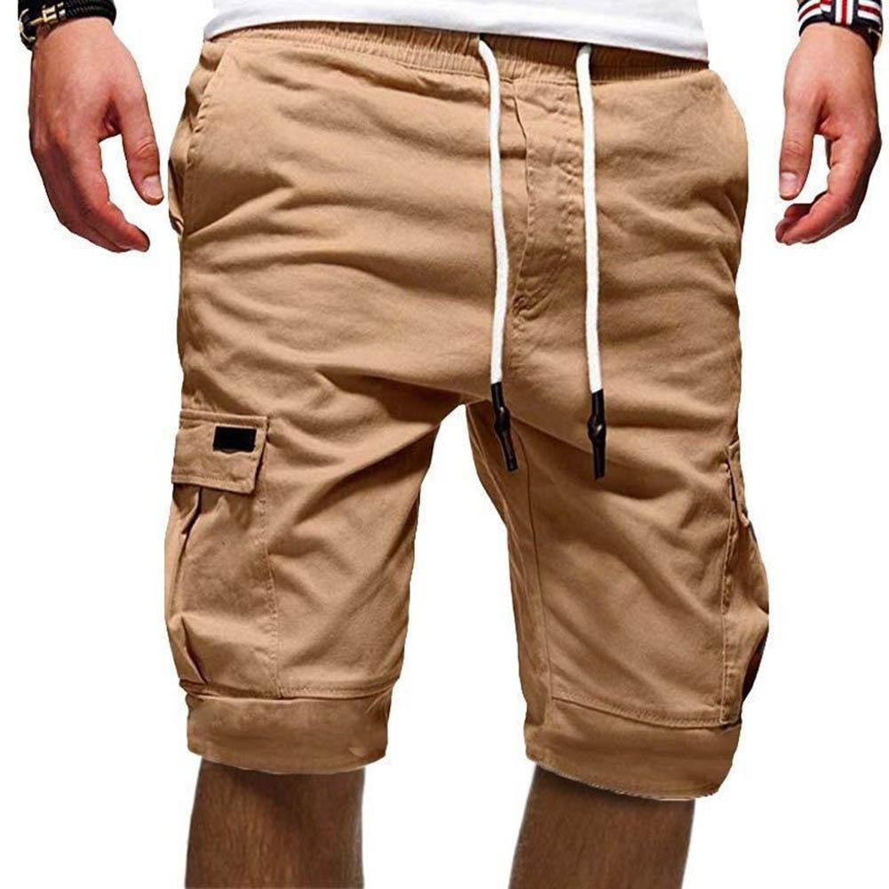 Summer Casual Men Solid Color Cargo Shorts Multi-Pockets Drawstring Fifth Pant Comfortable Men Cargo Shorts