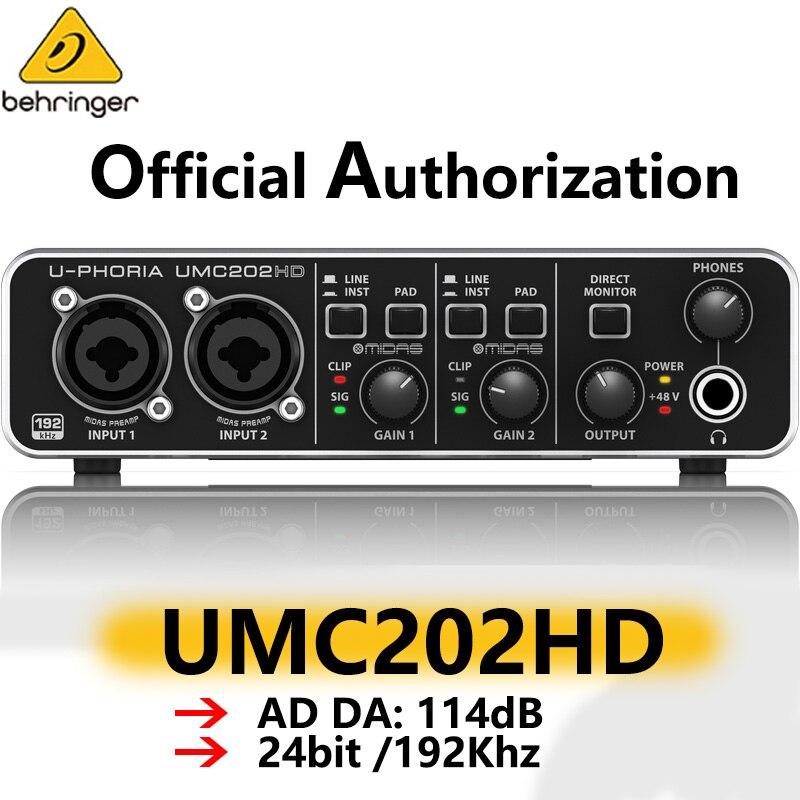 Behringer umc202hd interface de áudio placa som guitarra elétrica gravação ao vivo externo profissional focusrite scarlett 2i2