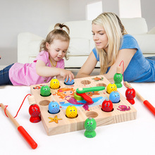 Fishing-Toy Wooden Magnetic Outdoor Baby Children's Small Digital-Clock Educational-Toys