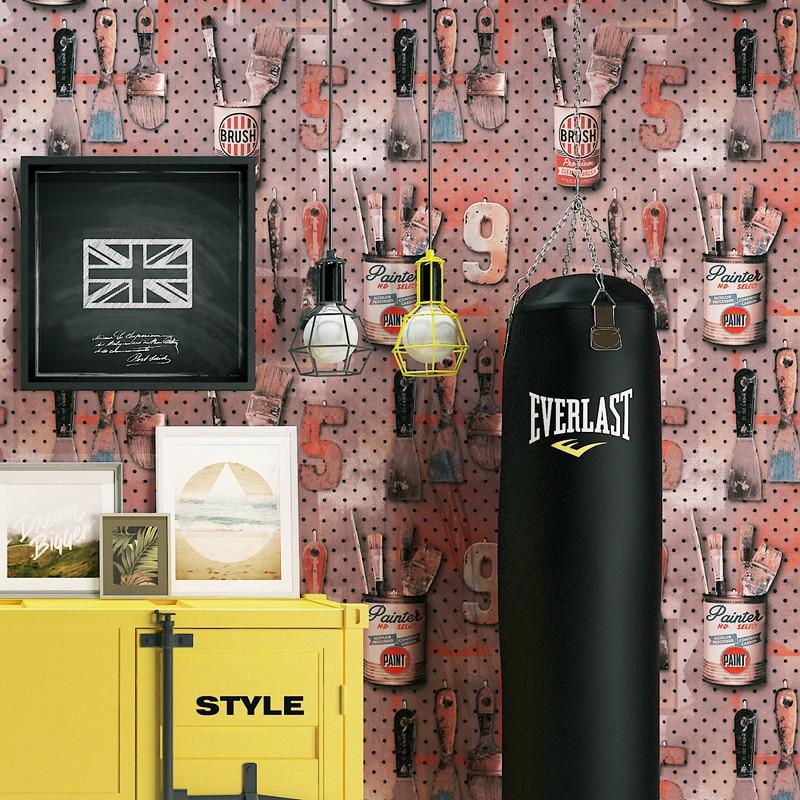 Numéros Vintage fer Art Wandtapete papier peint rouleau décoration murale pour café vêtements boutique murs Vinilos Pared papier de Contact