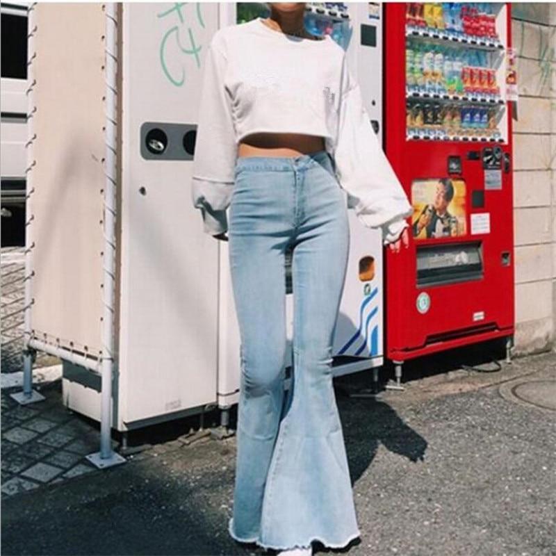 Ladies Denim High Waist Flare Jeans Boyfriend Jeans Women Vintage Sexy Skinny Bell Bottom Jeans Pants Wide Leg Mom Jeans Push Up