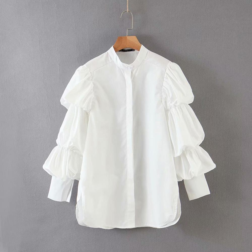 New women stand collar pleated puff sleeve casual white Blouse shirts women business Femininas Blusas chic brand tops LS6423
